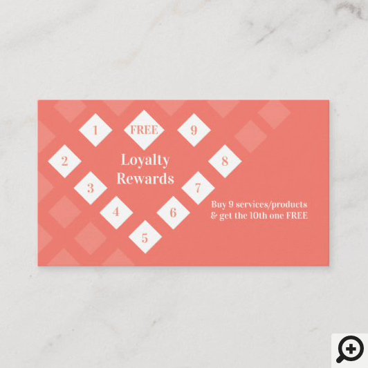 Modern Diamond Heart Loyalty Rewards Coral Business Card
