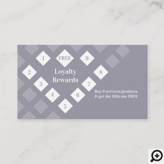 Modern Diamond Heart Loyalty Rewards Grey Lilac Business Card