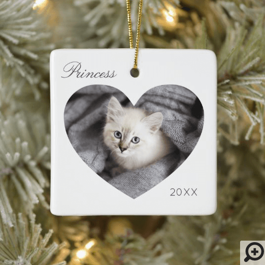 Modern Minimal White Heart Frame Cat Photo Ceramic Ornament