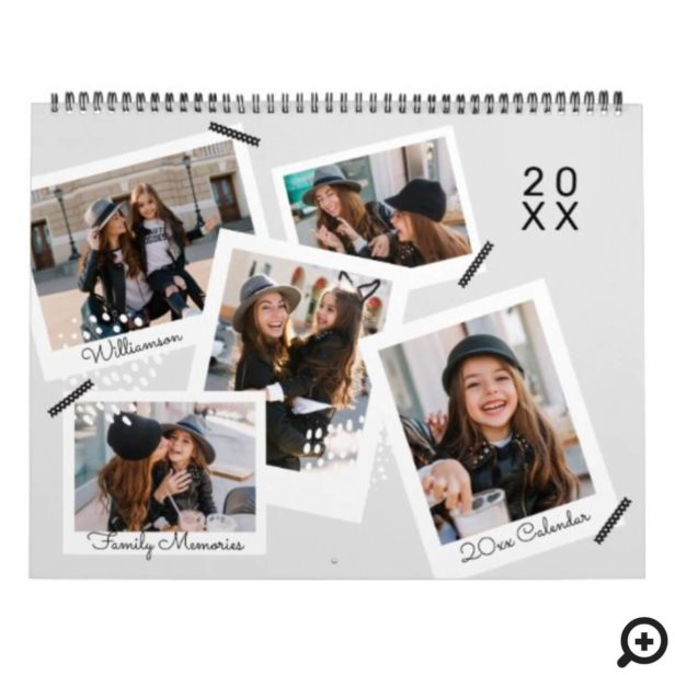 Modern Trendy Snapshot Photo Scrapbooking Collage Calendar