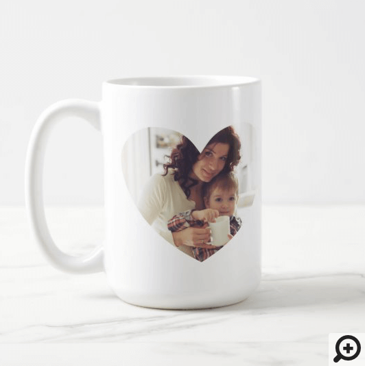 Modern White Heart Photo Frame Best Mom Ever Coffee Mug