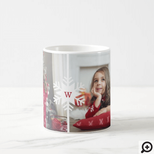 Monogram Multiple Photo Collage Photo Layout Coffee Mug
