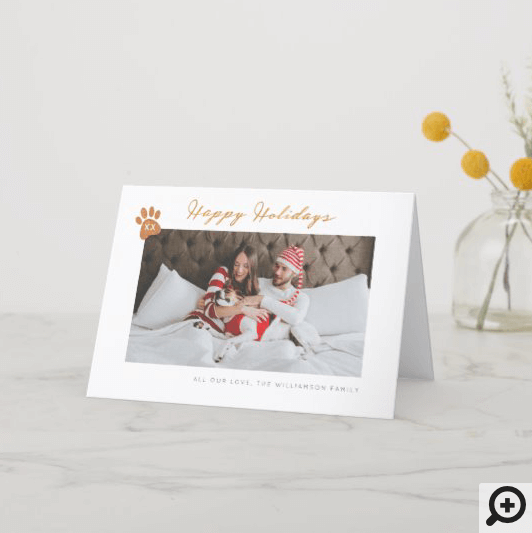 Pet Paw Print, Minimal & Modern Family Photo Holiday Card
