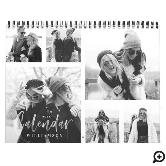 Trendy Black & White Brush Script Photo Collage Calendar