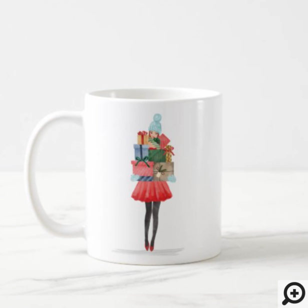 Waterolor Christmas Lovin' Girl Present Delivery Coffee Mug