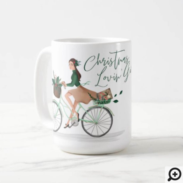 Waterolor Christmas Lovin' Girl Riding A Bicycle Coffee Mug