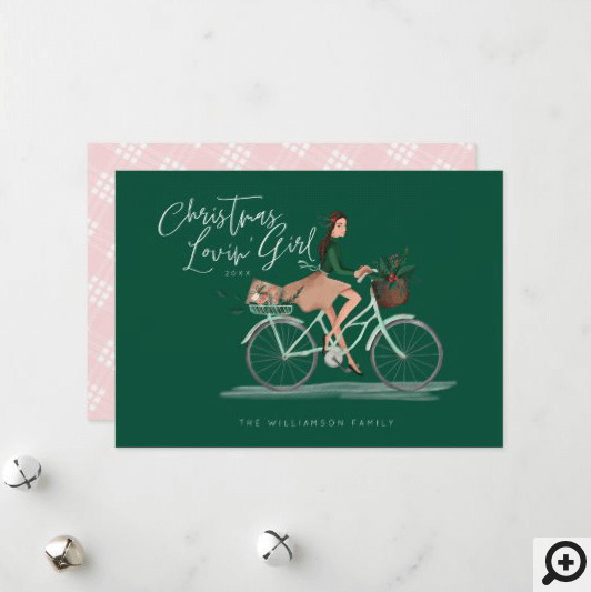 Waterolor Christmas Lovin' Girl Riding A Bicycle Holiday Card