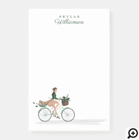 Waterolor Christmas Lovin' Girl Riding A Bicycle Post-it Notes