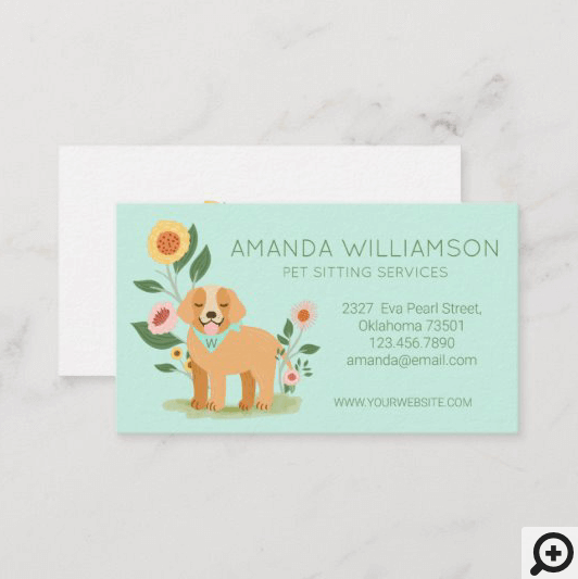 Adorable Floral Dog Pet Care Services Green Business Card
