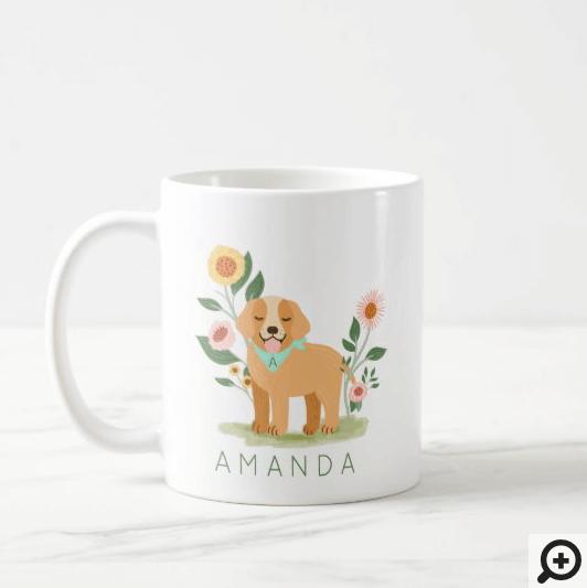 Adorable Floral Dog Pet Care Services Monogram Coffee Mug