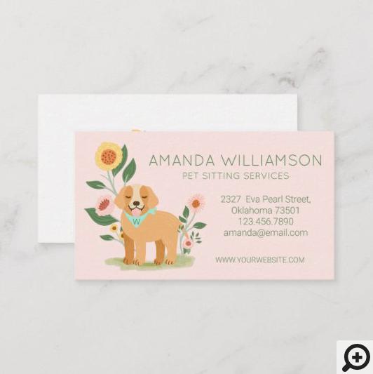 Adorable Floral Dog Pet Care Services Pink Business Card
