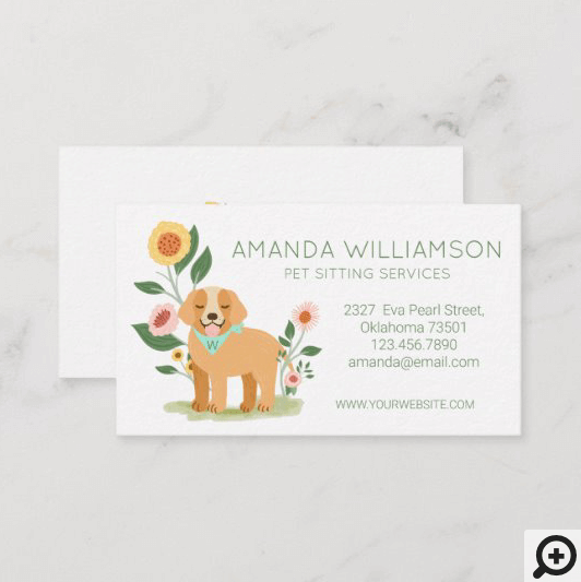 Adorable Floral Dog Pet Care Services White Business Card