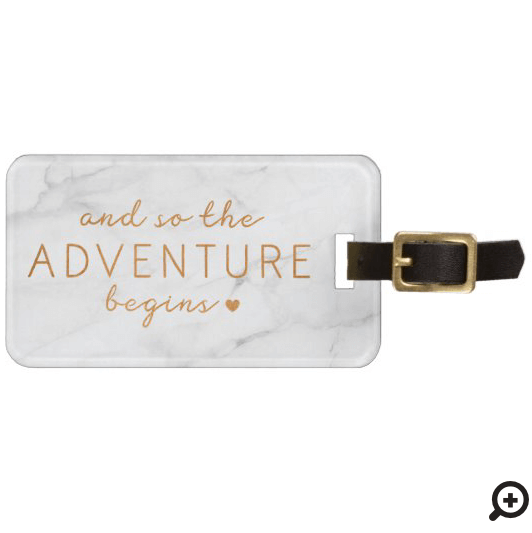 And So The Adventure Begins Marble Luggage Tag