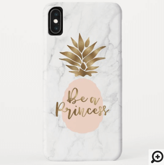 Be a Princess Marble & Blush Pink Golden Pineapple Case-Mate iPhone Case