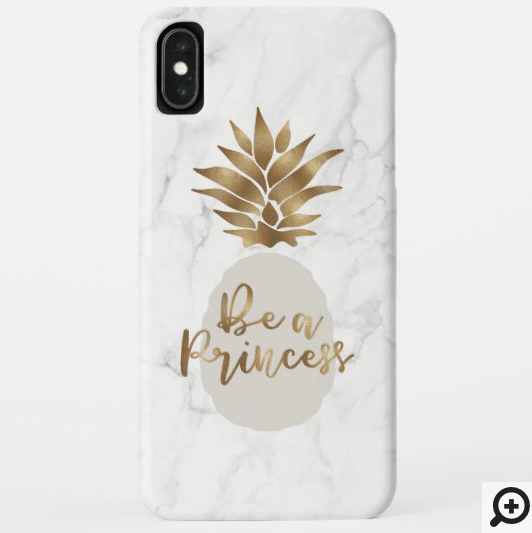 Be a Princess Marble & Grey Golden Pineapple Case-Mate iPhone Case
