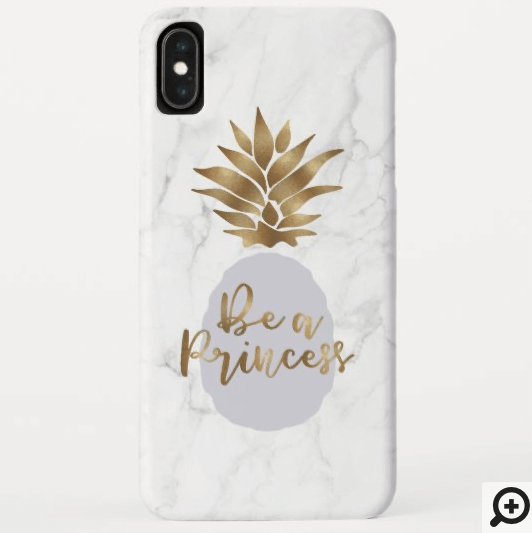 Be a Princess Marble & Lilac Golden Pineapple Case-Mate iPhone Case