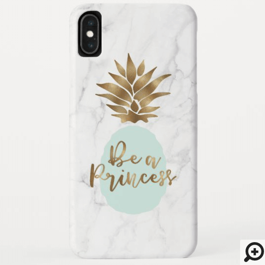 Be a Princess Marble & Mint Green Golden Pineapple Case-Mate iPhone Case