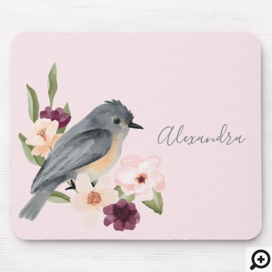 Beautiful Bohemian Style Watercolor Bird & Branch Mouse Pad