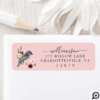 Beautiful Bohemian Style Watercolor Bird & Branch Pink Label