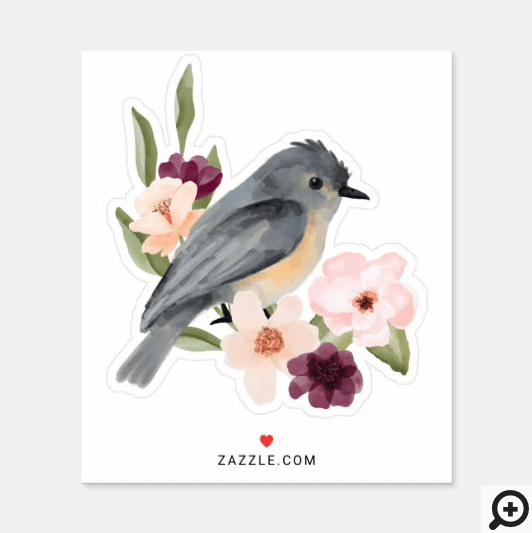 Beautiful Bohemian Style Watercolor Bird & Branch Sticker