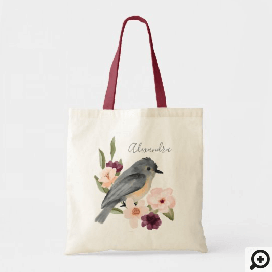 Beautiful Bohemian Style Watercolor Bird & Branch Tote Bag