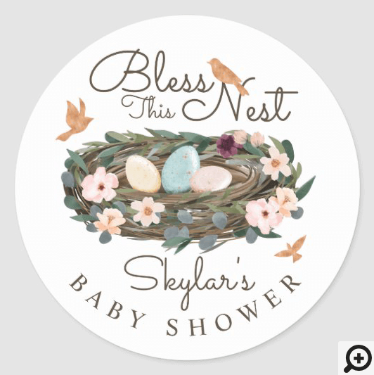 Bless This Nest Floral Bird's Nest Baby Shower Classic Round Sticker