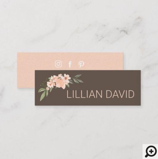 Blush Peach Watercolor Floral Rose & Sage Greenery Mini Business Card Brown