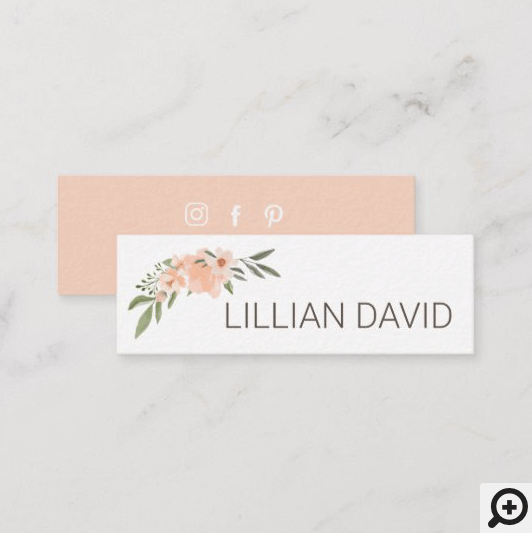 Blush Peach Watercolor Floral Rose & Sage Greenery Mini Business Card Pink
