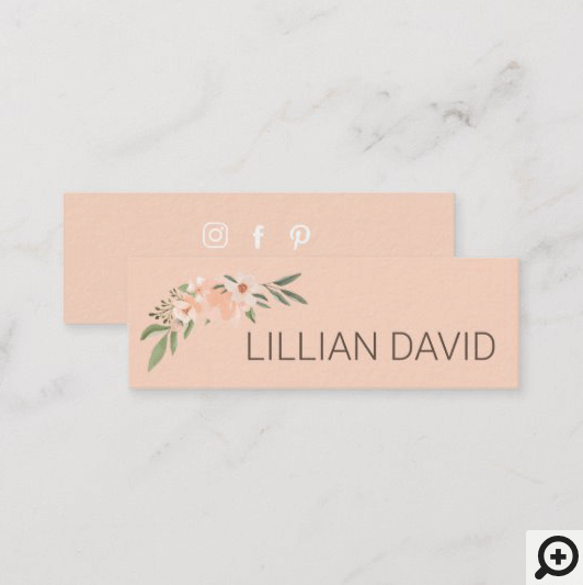 Blush Peach Watercolor Floral Rose & Sage Greenery Mini Pink Business Card
