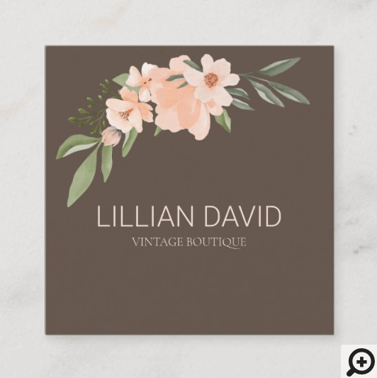 Blush Peach Watercolor Floral Rose & Sage Greenery Square Business Card Brown