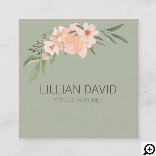 Blush Peach Watercolor Floral Rose & Sage Greenery Square Business Card Green
