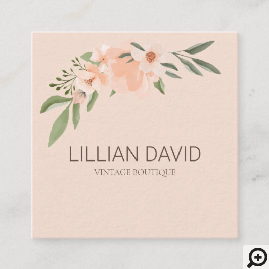 Blush Peach Watercolor Floral Rose & Sage Greenery Square Business Card Pink