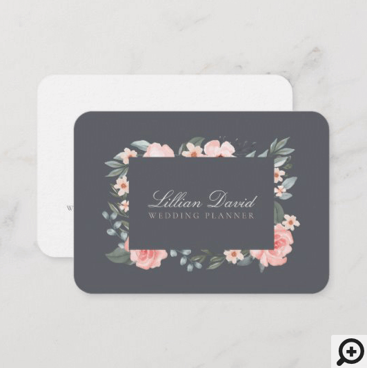 Blush Pink Watercolor Floral Rose & Sage Greenery Business Card