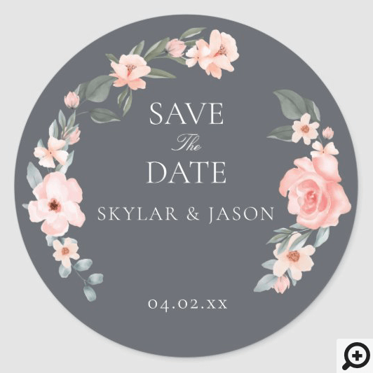 Blush Pink Watercolor Floral Rose & Sage Greenery Classic Round Sticker