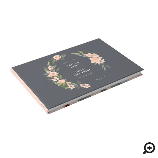 Blush Pink Watercolor Floral Rose & Sage Greenery Guest Book