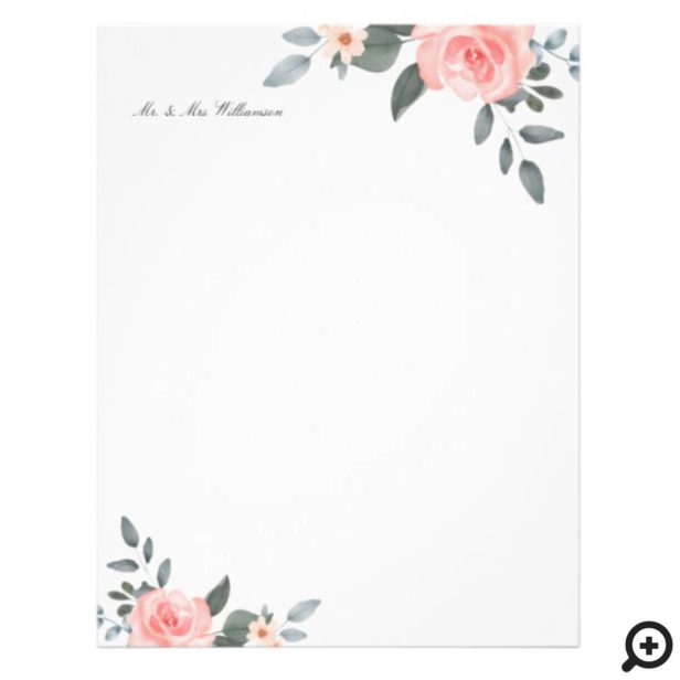 Blush Pink Watercolor Floral Rose & Sage Greenery Letterhead
