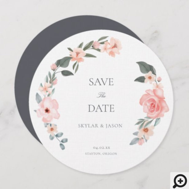 Blush Pink Watercolor Floral Rose & Sage Greenery Save The Date