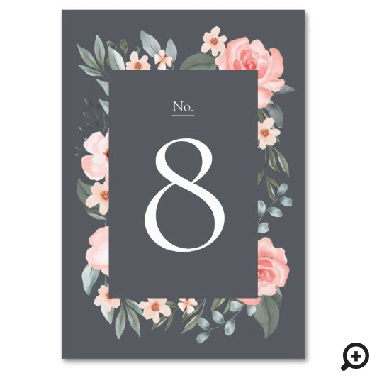 Blush Pink Watercolor Floral Rose & Sage Greenery Table Number
