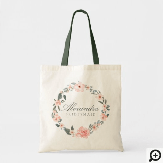 Blush Pink Watercolor Floral Rose & Sage Greenery Tote Bag