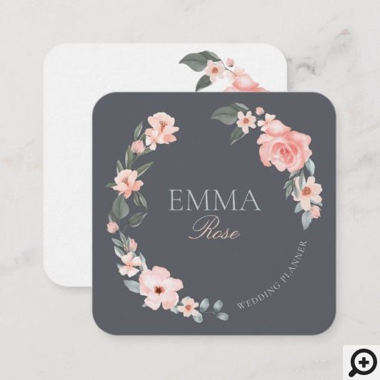 Blush Pink Watercolor Floral Rose Wedding Planner Square Business Card