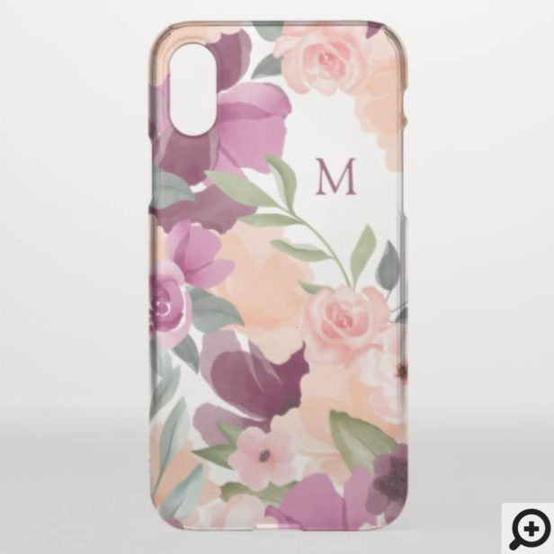 Blush & Purple Violet Watercolor Floral Monogram iPhone X Case