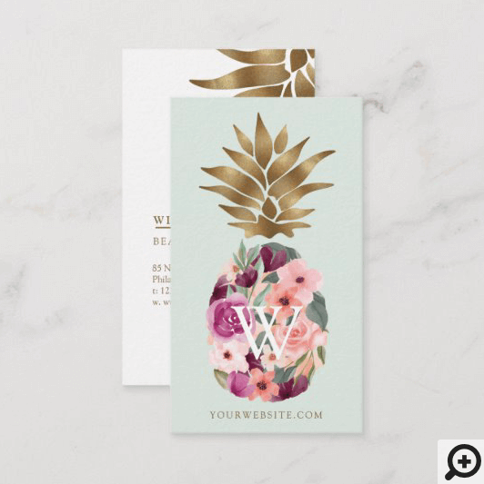 Chic Floral Botanical Watercolor Golden Pineapple Business Card