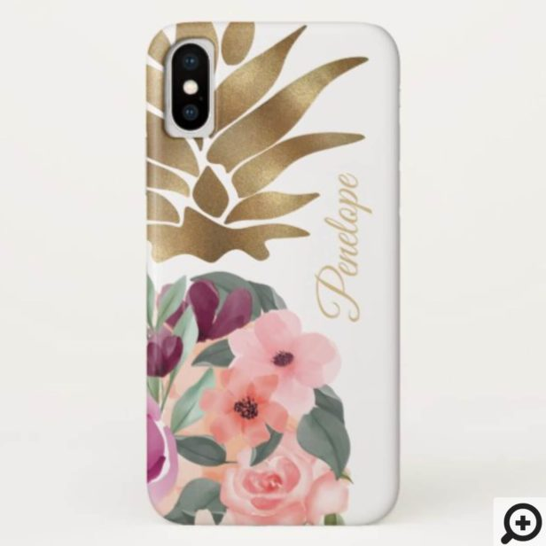 Chic Floral Botanical Watercolor Golden Pineapple Case-Mate iPhone Case