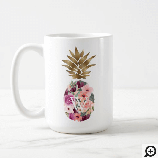 Chic Floral Botanical Watercolor Golden Pineapple Coffee Mug