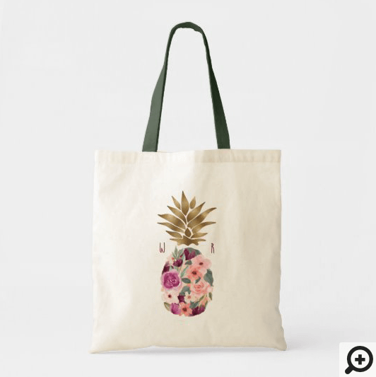 Chic Floral Botanical Watercolor Golden Pineapple Tote Bag