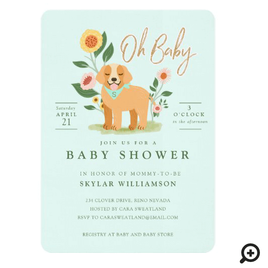 Cute Adorable Floral Golden Retriever Baby Shower Invitation Green