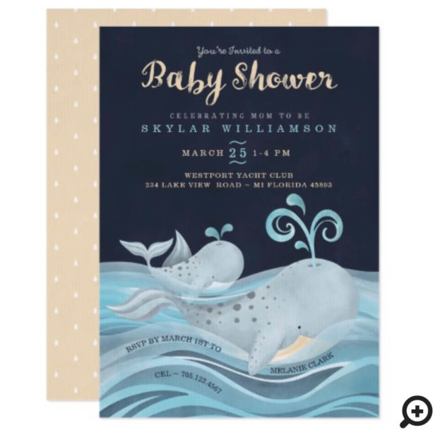 Cute Mommy & Baby Whale Nautical Baby Shower Invitation