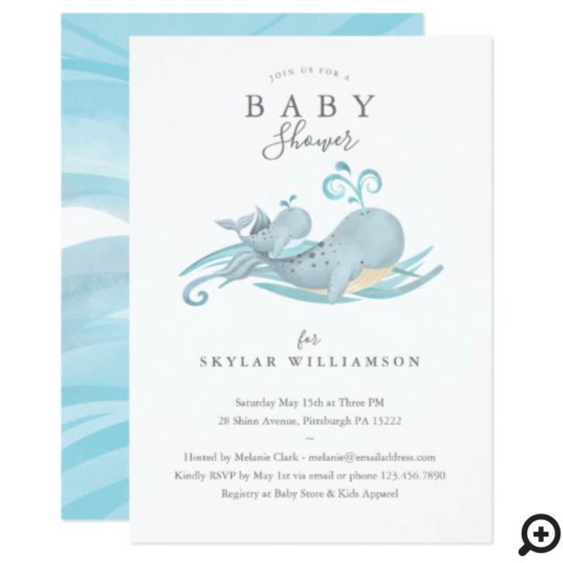 Cute Whimsical Mommy & Baby Whale Baby Shower Invitation