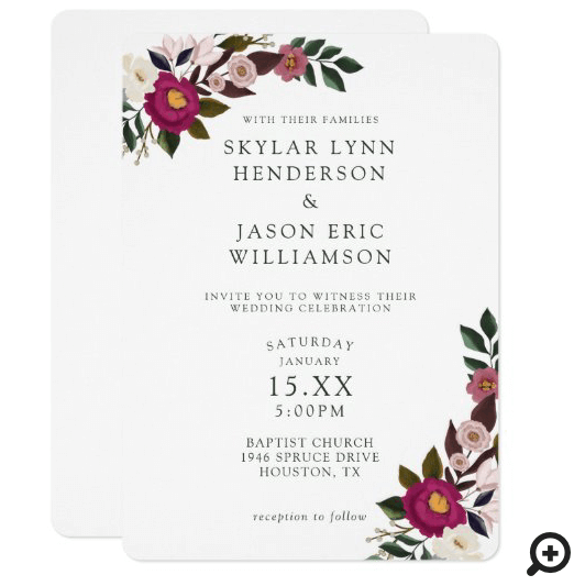 Elegant Moody Floral Watercolor Burgundy Wedding Invitation
