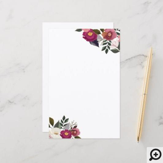 Elegant Moody Floral Watercolor Rustic Monogram